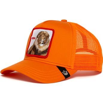 Boné trucker laranja leão Strong King da Goorin Bros.