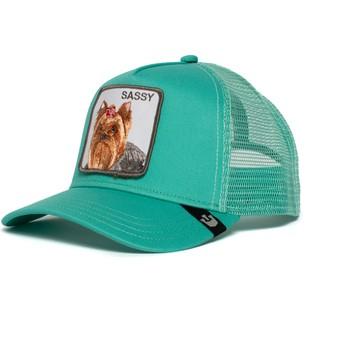 Boné trucker verde cão Yorkshire terrier Sassy Lady da Goorin Bros.