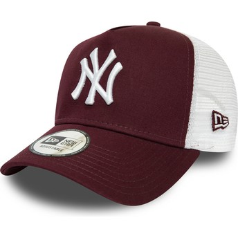 Boné trucker grená e branco Essential A Frame da New York Yankees MLB da New Era