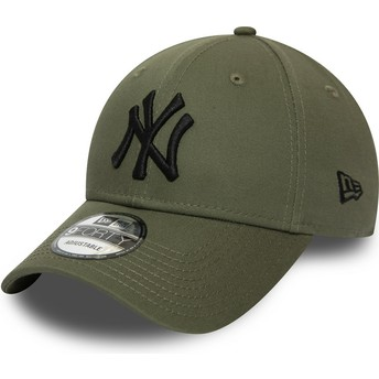 Boné curvo verde ajustável com logo preto 9FORTY Essential da New York Yankees MLB da New Era
