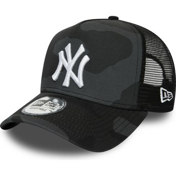 Boné trucker camuflagem preto com logo branco Essential Camo A Frame da New York Yankees MLB da New Era