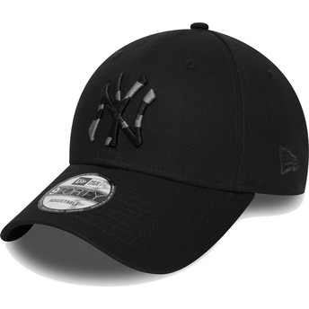 Boné curvo preto ajustável com logo camuflagem 9FORTY Camo Infill da New York Yankees MLB da New Era