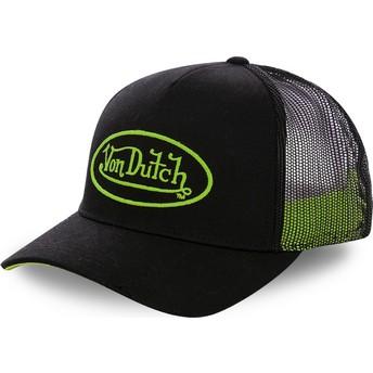 Boné trucker preto com logo verde NEO GRE da Von Dutch