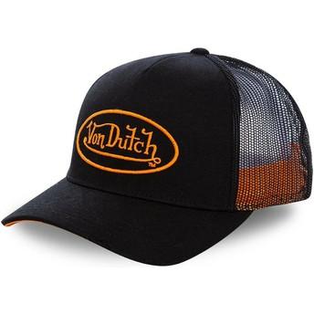 Boné trucker preto com logo laranja NEO ORA da Von Dutch