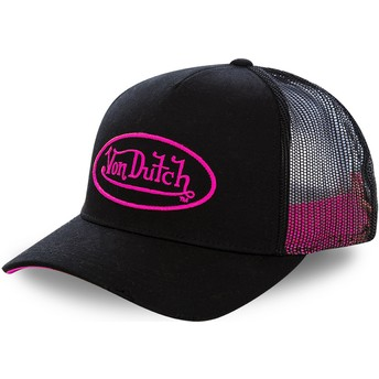 Boné trucker preto com logo rosa NEO PIN da Von Dutch