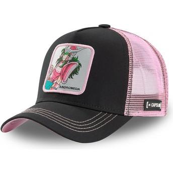 Boné trucker preto e rosa Shun da Andrômeda AND1 Saint Seiya: Os Cavaleiros do Zodíaco da Capslab