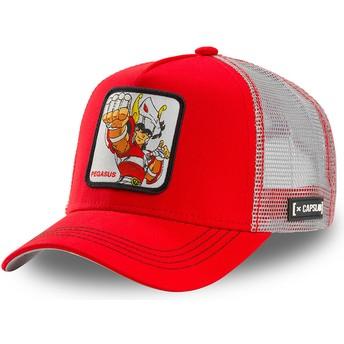 Boné trucker vermelho e branco Seiya da Pégaso PEG1 Saint Seiya: Os Cavaleiros do Zodíaco da Capslab