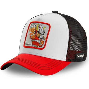 Boné trucker branco, preto e vermelho Seiya da Pégaso PEG2 Saint Seiya: Os Cavaleiros do Zodíaco da Capslab