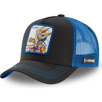 Boné trucker preto e azul Ikki da Fênix PHO1 Saint Seiya: Os Cavaleiros do Zodíaco da Capslab