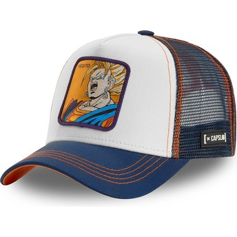 Boné trucker branco, azul e laranja Vegetto Super Saiyan VEG2 Dragon Ball da Capslab