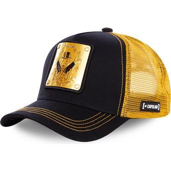 Boné trucker preto e dourado Rich Uncle Pennybags BIF Monopoly da Capslab
