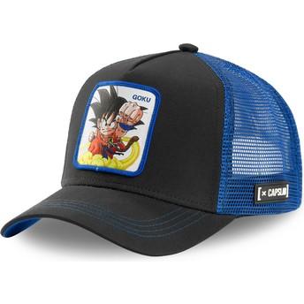 Boné trucker preto e azul Son Goku Criança GOK4 Dragon Ball da Capslab