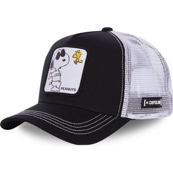 Boné trucker preto e branco Snoopy Joe Cool NAW1 Peanuts da Capslab