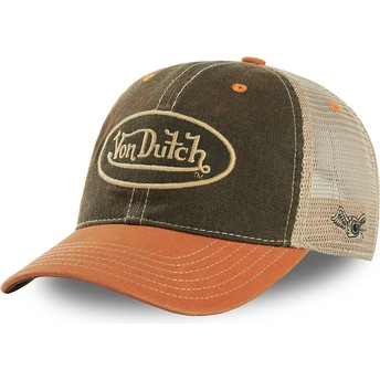 Boné trucker verde e laranja MAC3 da Von Dutch