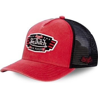 Boné trucker vermelho e preto Air Force TOP1 da Von Dutch