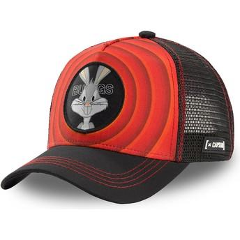 Boné trucker vermelho e preto Bugs Bunny Bullseye Color Rings LOO BUG1 Looney Tunes da Capslab