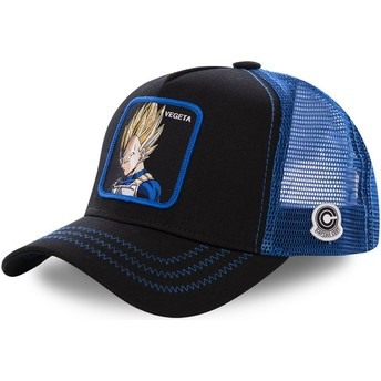 Boné trucker preto e azul para criança Vegeta Super Saiyan KID_VE3 Dragon Ball da Capslab