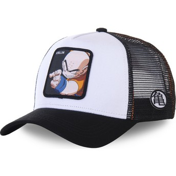 Boné trucker branco e preto para criança Krillin KID_KRI Dragon Ball da Capslab