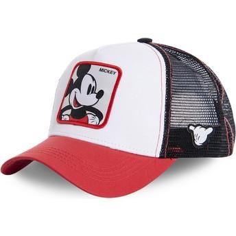 Boné trucker branco, preto e vermelho para criança Mickey Mouse KID_MIC4 Disney da Capslab