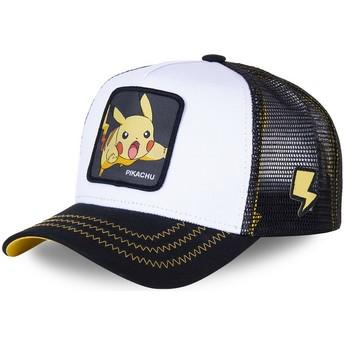 Boné trucker branco e preto para criança Pikachu KID_PIK5 Pokémon da Capslab