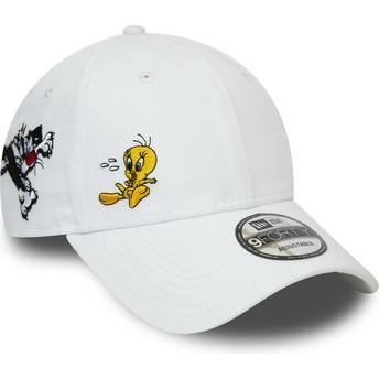 Boné curvo branco ajustável 9FORTY Sylvester e Piu-Piu Looney Tunes Chase da New Era