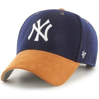 Boné curvo azul marinho ajustável com pala castanho MVP Willowbrook da New York Yankees MLB da 47 Brand