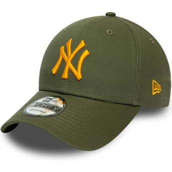 Boné curvo verde ajustável com logo laranja 9FORTY League Essential da New York Yankees MLB da New Era