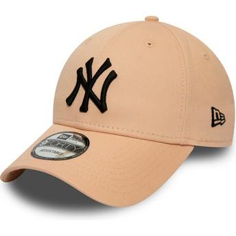 Boné curvo rosa claro ajustável com logo preto 9FORTY League Essential da New York Yankees MLB da New Era