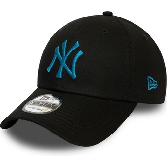 Boné curvo preto ajustável com logo azul 9FORTY League Essential da New York Yankees MLB da New Era