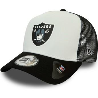 Boné trucker branco e preto Team Colour Block A Frame da Las Vegas Raiders NFL da New Era