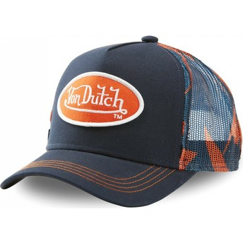 Boné trucker azul marinho e laranja AOP da Von Dutch