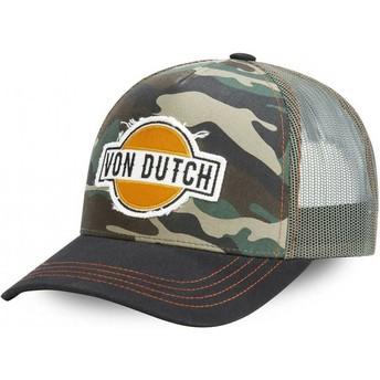 Boné trucker camuflagem e preto CAM da Von Dutch