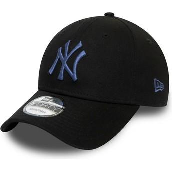 Boné curvo preto ajustável com logo azul 9FORTY Colour Essential da New York Yankees MLB da New Era