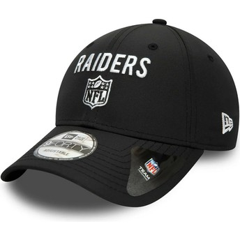 Boné curvo preto ajustável 9FORTY Team Flag da Las Vegas Raiders NFL da New Era