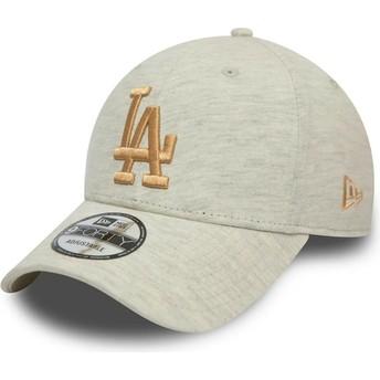 Boné curvo bege com logo dourado 9FORTY Camisola Essential da Los Angeles Dodgers MLB da New Era