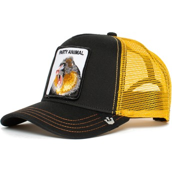 Boné trucker preto e amarelo macaco Party Animal da Goorin Bros.