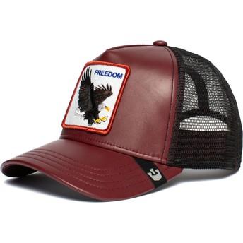 Boné trucker vermelho e preto águia Big Bird da Goorin Bros.