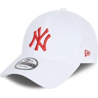 Boné curvo branco ajustável com logo vermelho 9FORTY League Essential da New York Yankees MLB da New Era