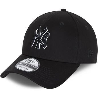 Boné curvo preto snapback 9FORTY Black Base da New York Yankees MLB da New Era