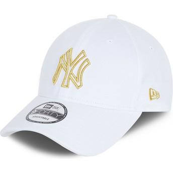 Boné curvo branco ajustável 9FORTY Metallic Logo da New York Yankees MLB da New Era
