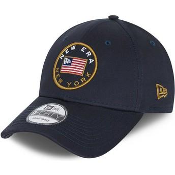 Boné curvo azul marinho ajustável 9FORTY USA Flag da New Era