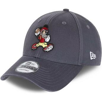 Boné curvo cinza ajustável 9FORTY Character Sports Mickey Mouse American Football Disney da New Era