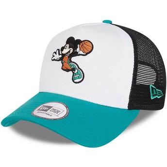 Boné trucker branco, preto e azul Character Sports A Frame Mickey Mouse Basketball Disney da New Era