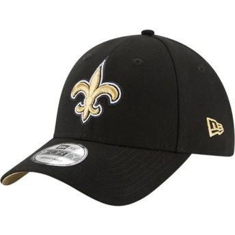 Boné curvo preto ajustável 9FORTY The League da New Orleans Saints NFL da New Era