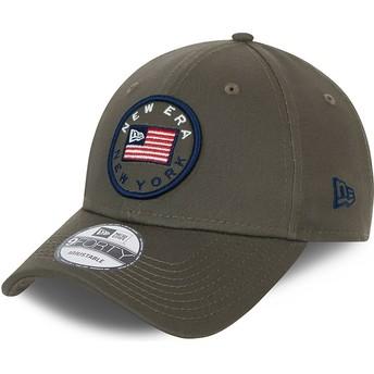 Boné curvo verde ajustável 9FORTY USA Flag da New Era