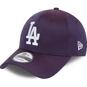 Boné curvo violeta ajustável 9FORTY Hypertone da Los Angeles Dodgers MLB da New Era
