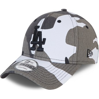 Boné curvo camuflagem preto ajustável com logo preto 9FORTY da Los Angeles Dodgers MLB da New Era