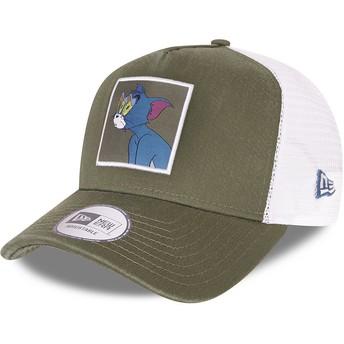Boné trucker verde e branco A Frame Tom and Jerry Looney Tunes da New Era