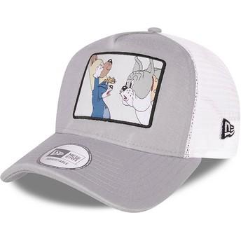 Boné trucker cinza e branco A Frame Tom and Jerry Looney Tunes da New Era
