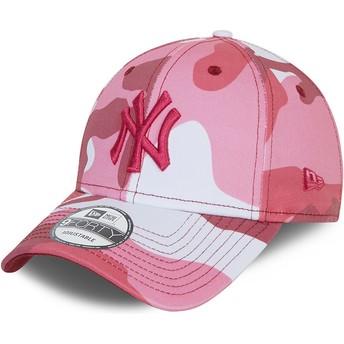 Boné curvo camuflagem rosa ajustável com logo rosa 9FORTY da New York Yankees MLB da New Era
